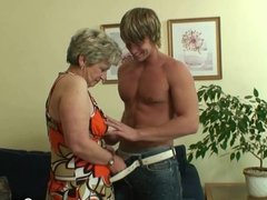 Old women pleases hot younger stud