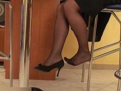 black pantyhose shoeplay