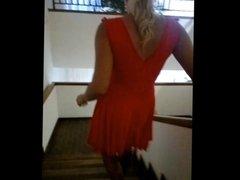 In my red skirt, FF nylon stockings, stairway, balcony...