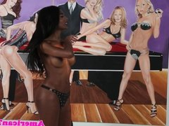 Dominant bigtitted ebony tgirl flogs male