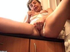 Granny masturbates with cucumber and banana