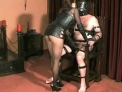 Mistress Torments His Nipples, Cock And Balls