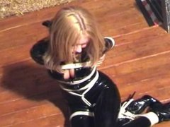 Natasha Marley in Rubber Catsuit Cleave Gagged and Floortied in High Heeled