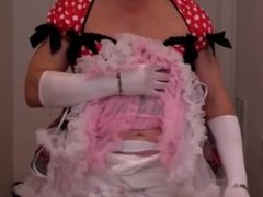 diapered sissyababy inpretty red dress