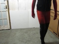 Skintight red leggings, thigh boots and red gloves