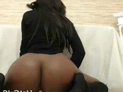 Ebony Milf with Bigtits Riding Dildo