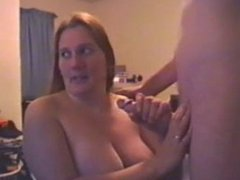 Big tit amateur sucks dick gets a facial on cam