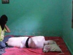 White Mummification Hogtie