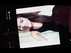 Cumtribute for beautiful brunette