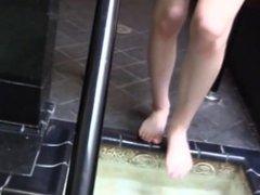 Brunette gives water tub bathroom handjob
