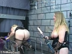 Ankle Bound Blonde gets Fucked with Industrial Dildo...