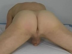 Grinding masturbation to orgasm with flaccid penis