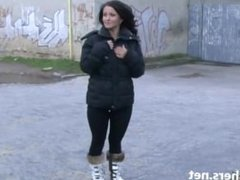 Flashing Belindas daring public nudity and outdoor masturbation of brunette