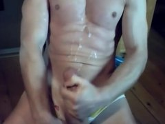 Guys stroking their hard cocks and shooting hot cum loads 4