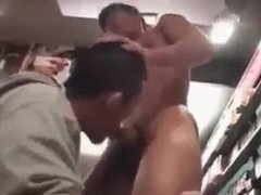 Japanese guys fuck in porn shop