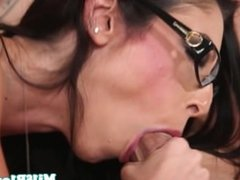 Busty spex housewife throats young cock