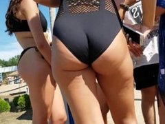 big round booty in swimsuit Thong pawg