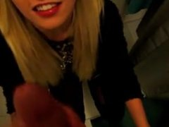 Blonde Amateur Wife Blowjob and Swallows in Public Place at IKEA Shop