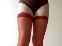 Second Time CrossDress: bras, panty, red stockings, dancing