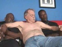 Two black man fuck Grandpa
