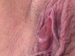 Katherine Brown.. Blue toe nail polish, blue shirt & huge pink pissing cunt