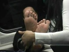 Sofia get tickled on her feet