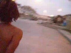 naked black chick walking outside