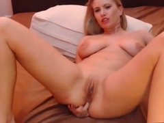 Big tit blonde masturbating on cam