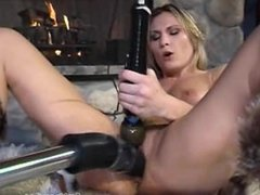 fur fetish - girl in fur boots, fuck machine and fur rugs