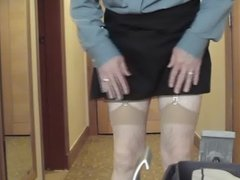 Adjusting slip and ending with showing stocking tops