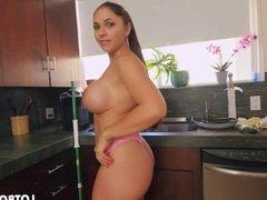 Beautiful fat booty busty latina maid