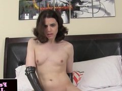 Latex fembois queen masturbating cock and ass
