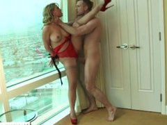 Irresistible blonde bound and fucked on balcony