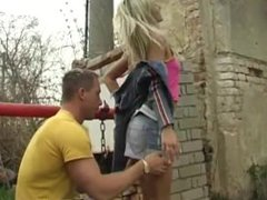 Katie cummings wrestles friend Josje pounding her paramour outdoors