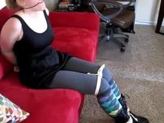 Corinne tied up in argyle socks