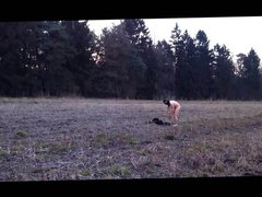 standing naked in the field