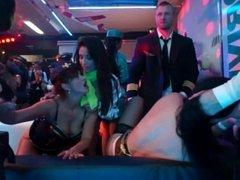 Horny pornstar suck two dicks in club