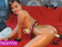 Hot Erika_Sexx Teasing her ass on sex machine ALIVEGIRL