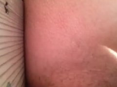 Ex girlfriend fingering her hairy pussy on the deck for me