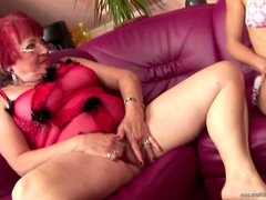 Hairy girl piss on and fucks mom and granny