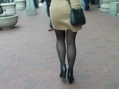 super hot creep shot candid pantyhose legs and booty walking on street
