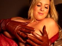 Touching herself in leather Gloves