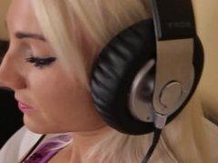 Chrissy Listening to Music on Headphones