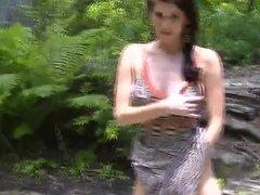 Amber Hahn masturbating in the woods