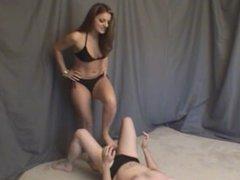 Bikini Babe Loves Kicking Speedo Nutsack