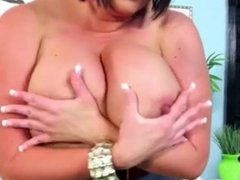 Brunette milf huge natural tits playing with her Pussy