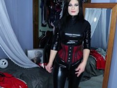 Sexy babe in PVC catsuit