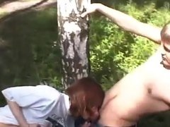 Suck and fuck for facial in a public park