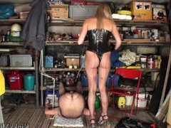 Guy fucked with Baseball and Candles in Basement by Femdom Mistress