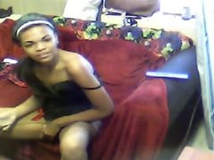 Amateur ebony teen mastubates on webcam -